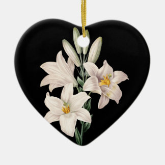 Dramatic Black and White Lilies Ceramic Heart Decoration
