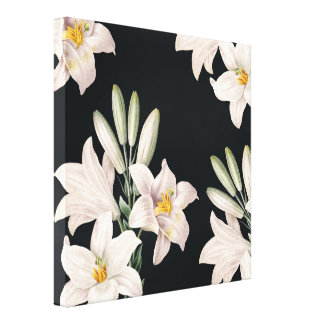 Dramatic Black and White Lilies Gallery Wrapped Canvas