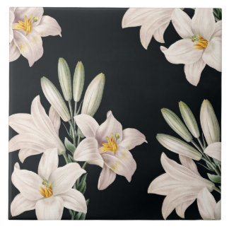 Dramatic Black and White Lilies Large Square Tile