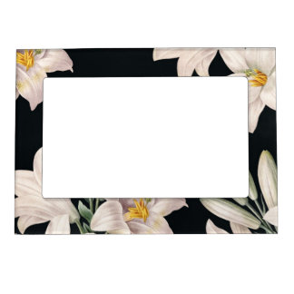 Dramatic Black and White Lilies Magnetic Photo Frame