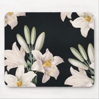 Dramatic Black and White Lilies Mouse Pad