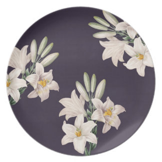 Dramatic Black and White Lilies Plate