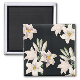 Dramatic Black and White Lilies Square Magnet