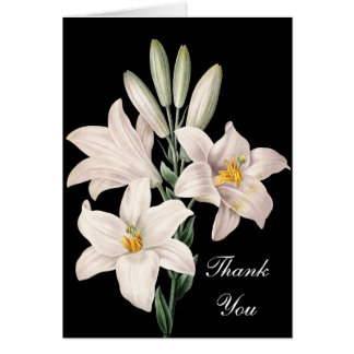 Dramatic Black and White Lilies Thank You Note Card