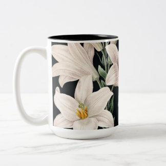 Dramatic Black and White Lilies Two-Tone Mug
