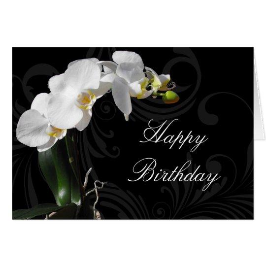 Dramatic Black/White Orchid Custom Birthday Card