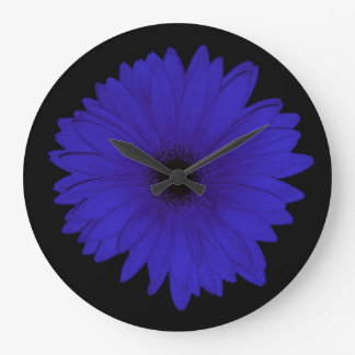 Dramatic Blue Daisy Clock