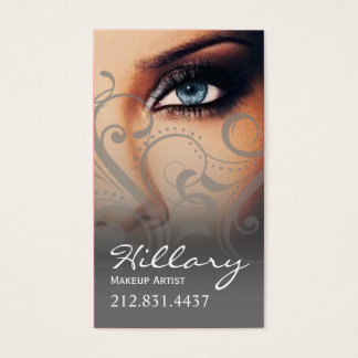 Dramatic Blue Eyes Makeup Artist | grey Business Card