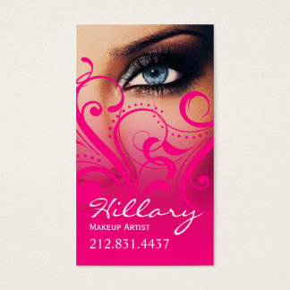 Dramatic Blue Eyes Makeup Artist | hot pink Business Card