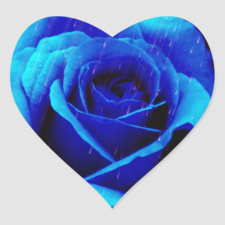 Dramatic Blue Rose Heart Sticker