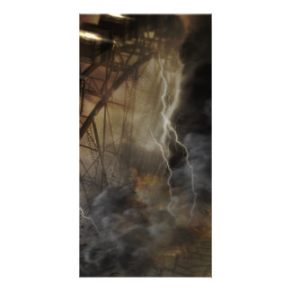 Dramatic Ferris Wheel Falls in a Lightning Storm Photo Card Template