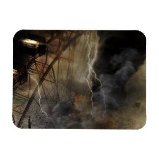 Dramatic Ferris Wheel Falls in a Lightning Storm Rectangle Magnet