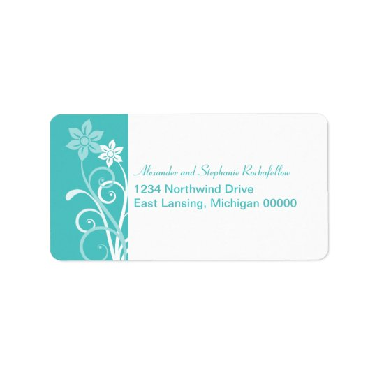 Dramatic Floral Swirls Address Labels, Aqua Address Label