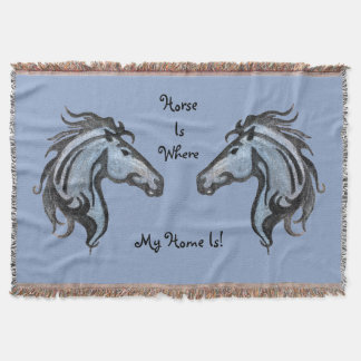 Dramatic Horses Throw Blanket