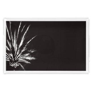 Dramatic Palm Tree Night Black and White Photo Acrylic Tray