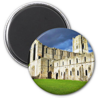 Dramatic Picture Of Fountains Abbey Right Before S 6 Cm Round Magnet