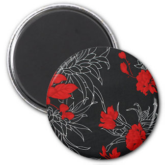 Dramatic Red Flowers on Black Fridge Magnet