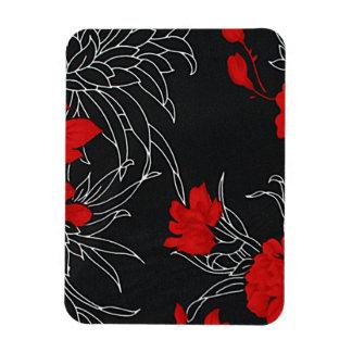 Dramatic Red Flowers on Black Vinyl Magnet