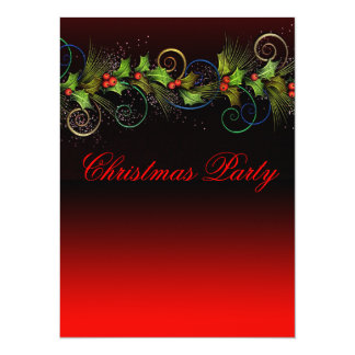 Dramatic Red Holly Corporate Christmas Party Card
