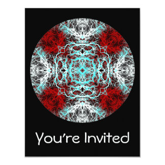 Dramatic Round Pattern. Red and Turquoise. 11 Cm X 14 Cm Invitation Card