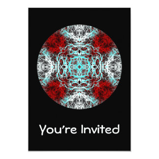 Dramatic Round Pattern. Red and Turquoise. 13 Cm X 18 Cm Invitation Card