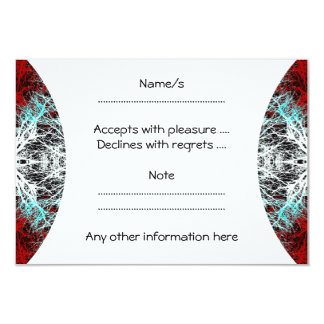 Dramatic Round Pattern. Red and Turquoise. 9 Cm X 13 Cm Invitation Card