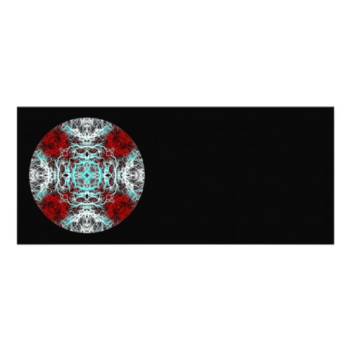 Dramatic Round Pattern. Red and Turquoise. Announcement
