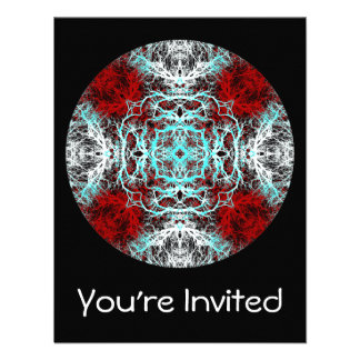 Dramatic Round Pattern Red and Turquoise Invitations