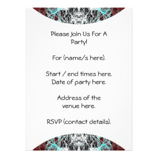 Dramatic Round Pattern Red and Turquoise Custom Invites