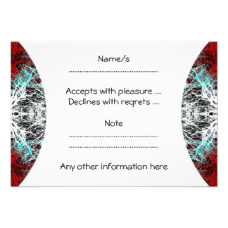 Dramatic Round Pattern Red and Turquoise Invitation