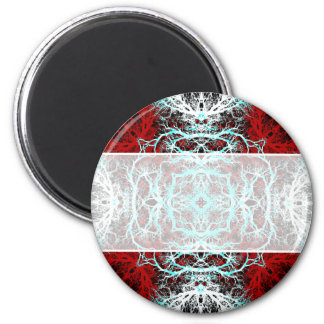 Dramatic Round Pattern. Red and Turquoise. Refrigerator Magnet