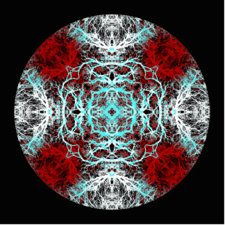 Dramatic Round Pattern. Red and Turquoise. Photo Sculptures