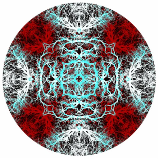 Dramatic Round Pattern. Red and Turquoise. Cut Out