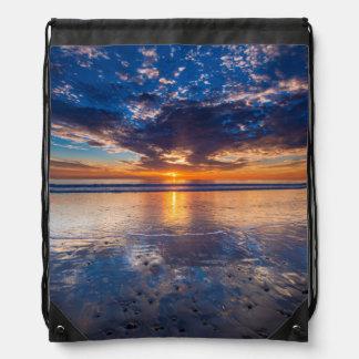 Dramatic seascape, sunset, CA Drawstring Bag