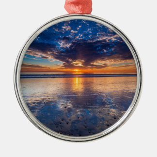 Dramatic seascape, sunset, CA Silver-Colored Round Decoration