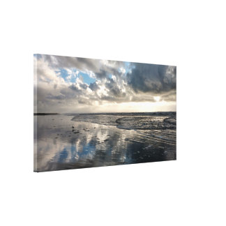 Dramatic Sky Beach Reflections Stretched Canvas