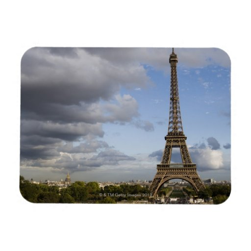 dramatic sky behind Eiffel Tower Rectangular Magnet