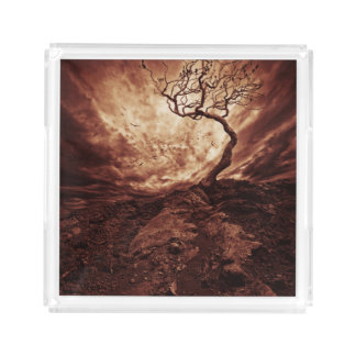 Dramatic Sky Over Old Lonely Tree Acrylic Tray