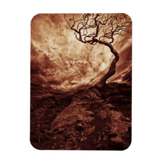 Dramatic Sky Over Old Lonely Tree Rectangle Magnets