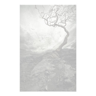 Dramatic sky over old lonely tree stationery