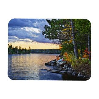 Dramatic sunset at lake rectangle magnets