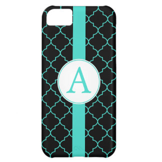 Dramatic Turquoise Monogram iPhone 5 Case