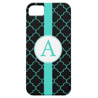 Dramatic Turquoise Monogram iPhone 5 Case