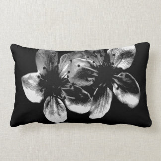 Dramatic White Cherry Blossoms On Black, Lumbar Cushion