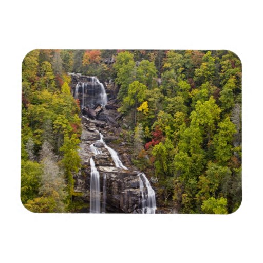 Dramatic Whitewater Falls in autumn in the Rectangular Magnet