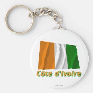Drapeau Côte d'Ivoire avec le nom en français Key Chain