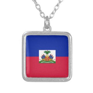Drapeau d'Haïti - Flag of Haiti Silver Plated Necklace