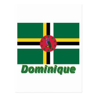 Drapeau Dominique avec le nom en français Postcard