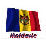 Drapeau Moldavie avec le nom en français