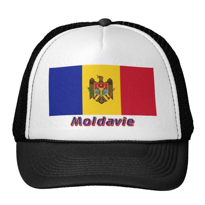 Drapeau Moldavie avec le nom en français Cap